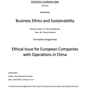 Ethical Issue for European Companies with Operations in China