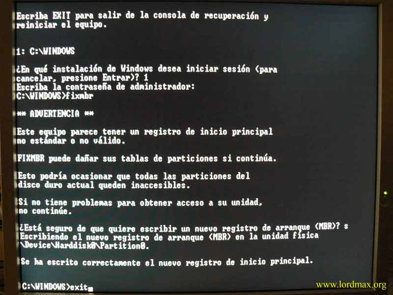 "Recuperar MBR desde Windows XP o el famoso ""Disco de inicio de Windows 98"""