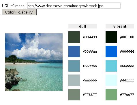 Paleta de colores de una foto