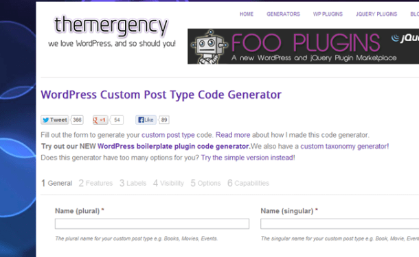 wordpress custom post type generator codes