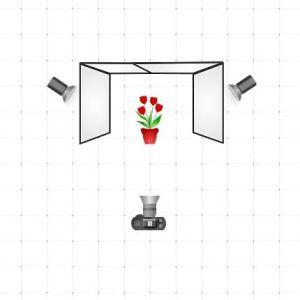 Diagrama de iluminación de dos luces para foto de producto