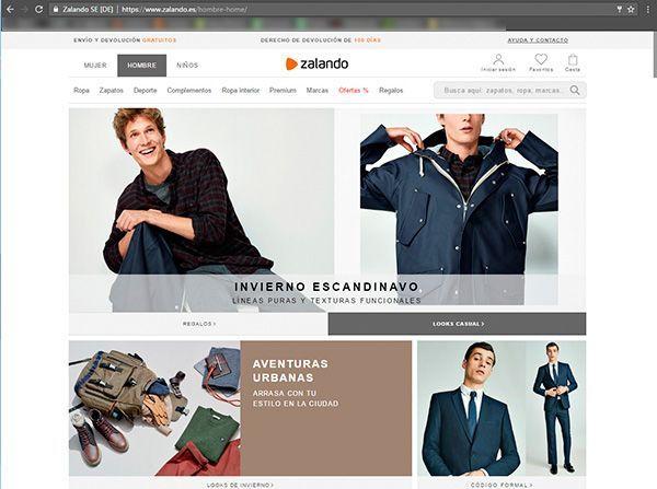 Captura de pantalla de la página de inicio específica de hombre de la web de Zalando donde podemos ver el tipo de fotografía para ecommerce de moda que utilizan en esta sección