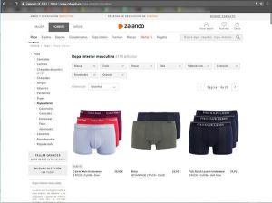 Captura de pantalla de la sección de ropa interior masculina de la web de Zalando donde podemos ver el tipo de fotografía para ecommerce de moda que utilizan en esta sección.
