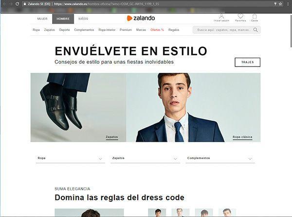Captura de pantalla de una página de propuestas de dess code formal de la web de Zalando donde podemos ver el tipo de fotografía para ecommerce de moda que utilizan en esta sección
