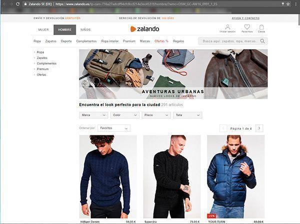 Captura de pantalla de una página de propuestas de estilo urbano para el invierno de la web de Zalando donde podemos ver el tipo de fotografía para ecommerce de moda que utilizan en esta sección