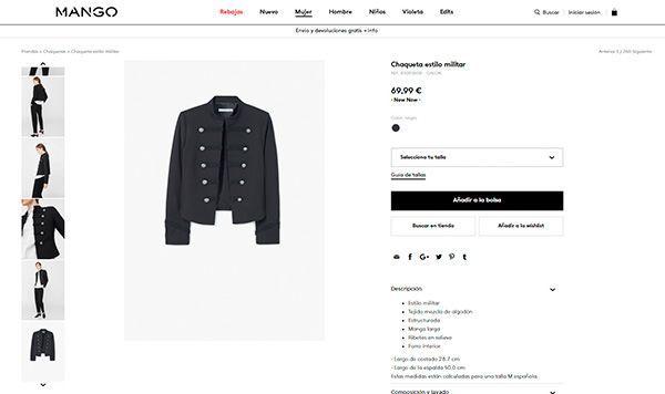 Ejemplo de foto de producto sin modelo para ecommerce de moda, en este caso de la web de Mango