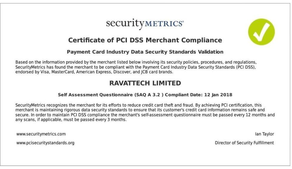 Pci Dss Compliance Certificate Safe Secure Online Shopping