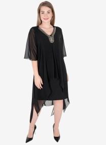 Ολόμαυρο φόρεμα με τουνίκ και στρας