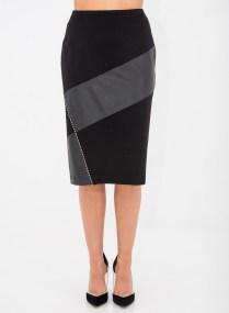 Ίσια μαύρη φούστα με λεπτομέρειες δερματίνης