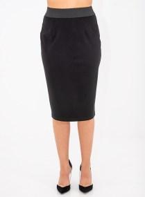 Μαύρη ίσια φούστα με λάστιχο στη μέση