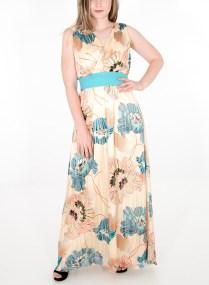 Φλοράλ εντυπωσιακό φόρεμα με ζώνη