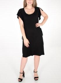 Μαύρο φόρεμα με κορδονάκια στο πλάι