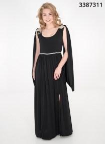 Μαύρο εντυπωσιακό φόρεμα με στρας στους ώμους
