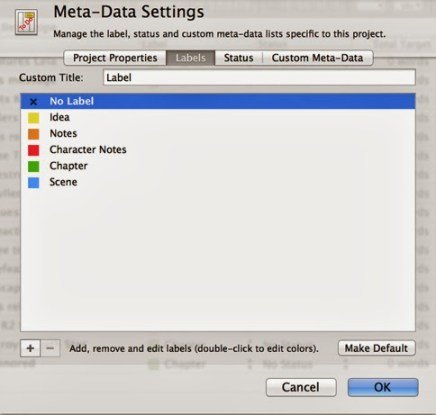 Scrivener Labels that use meta-data
