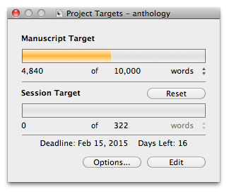 Scrivener Saturday - Using Targets Project Target Pop-Up