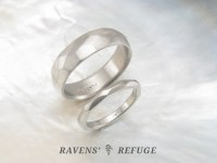 hand forged platinum wedding band set, his and hers ...