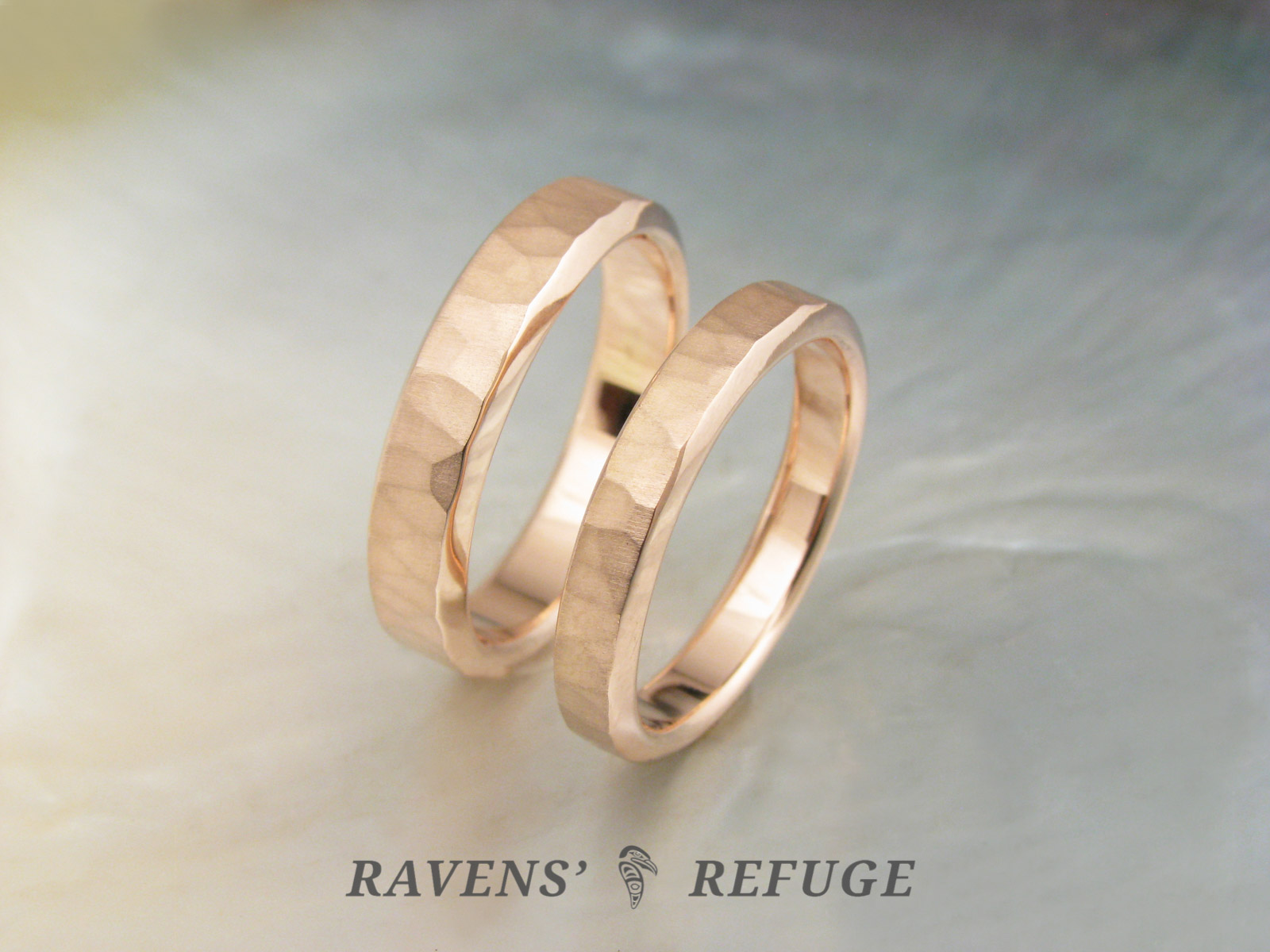 Hammered Rose Gold Rings Unconventional Wedding Bands