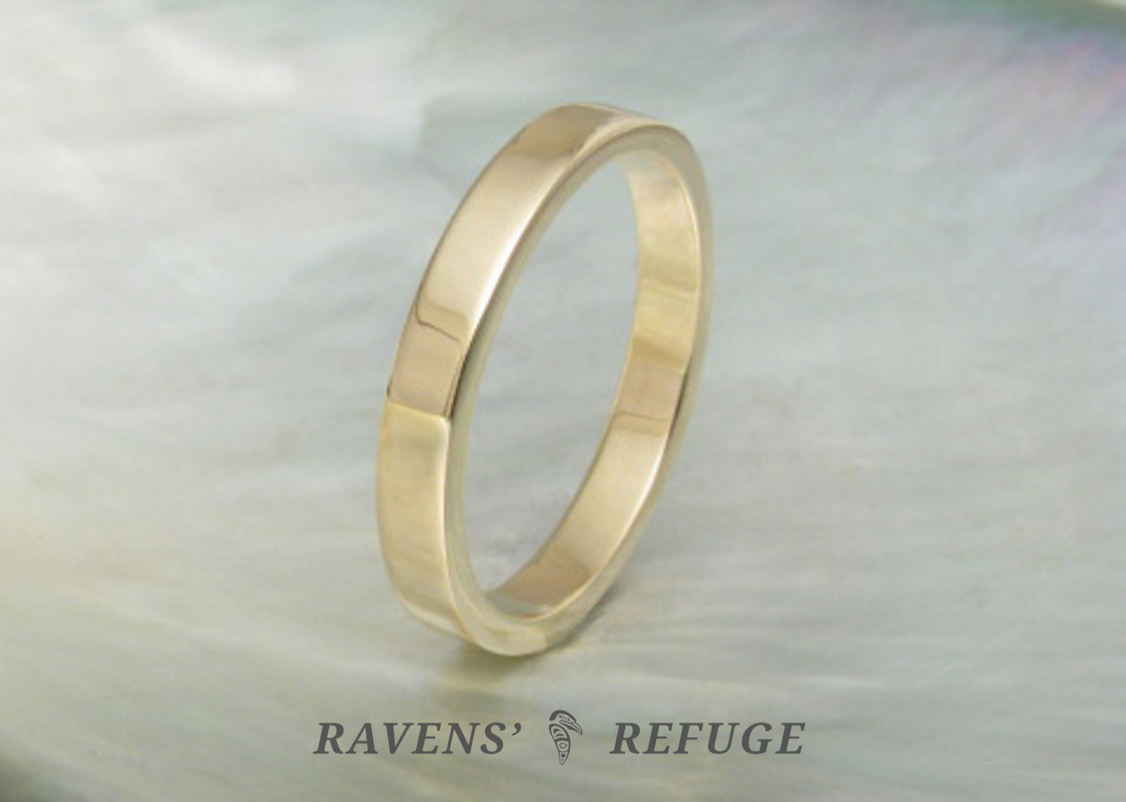 flat wedding band  simple gold wedding ring  Ravens Refuge