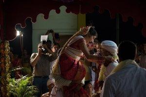 Candid Indian Wedding - exchanging garland