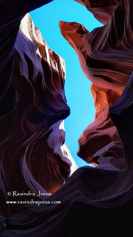 The pattern and design formation and the opening on top - Lower Antelope Canyon