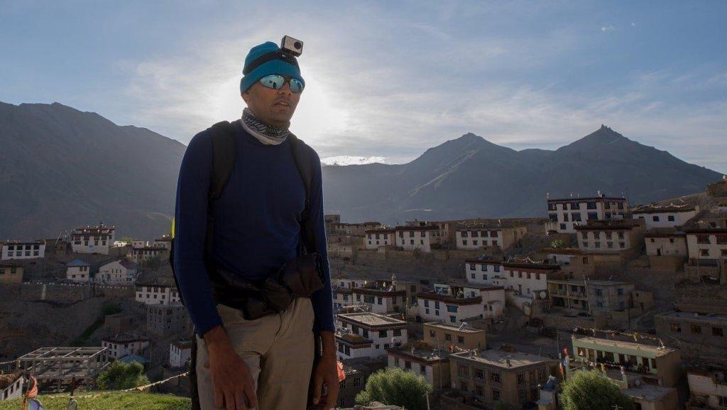 Hiker @ravindra at Kibber - ready to trek Mount Kanamo
