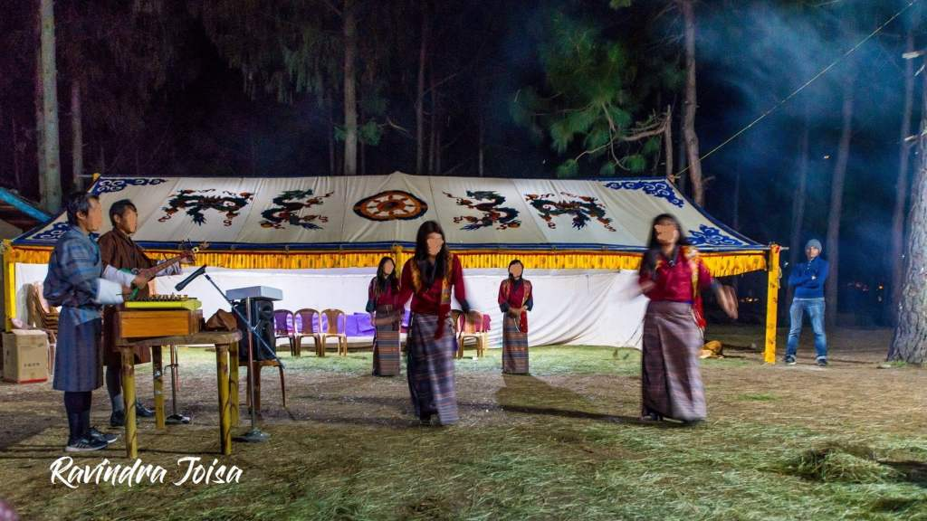 Folk Dance while camping in Punakha