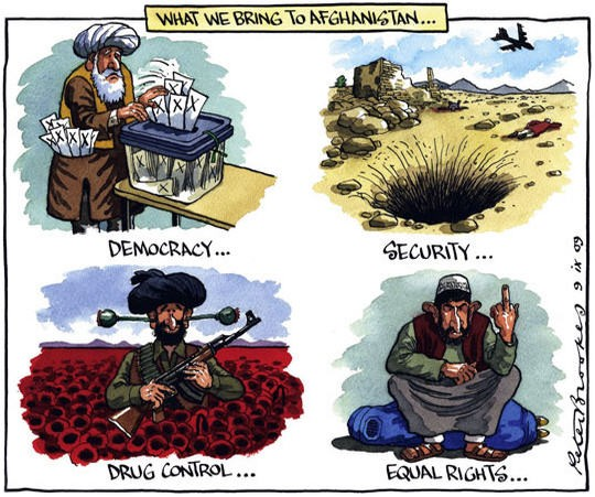 The benefits of being an American ally (Cartoon by Peter Brookes published by The Times.).
