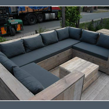 Loungeset U in gebruikt steigerhout 200 x 300 x 200