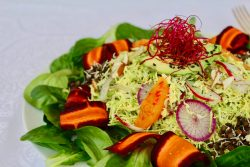 Raw Brussels sprouts salad of winter