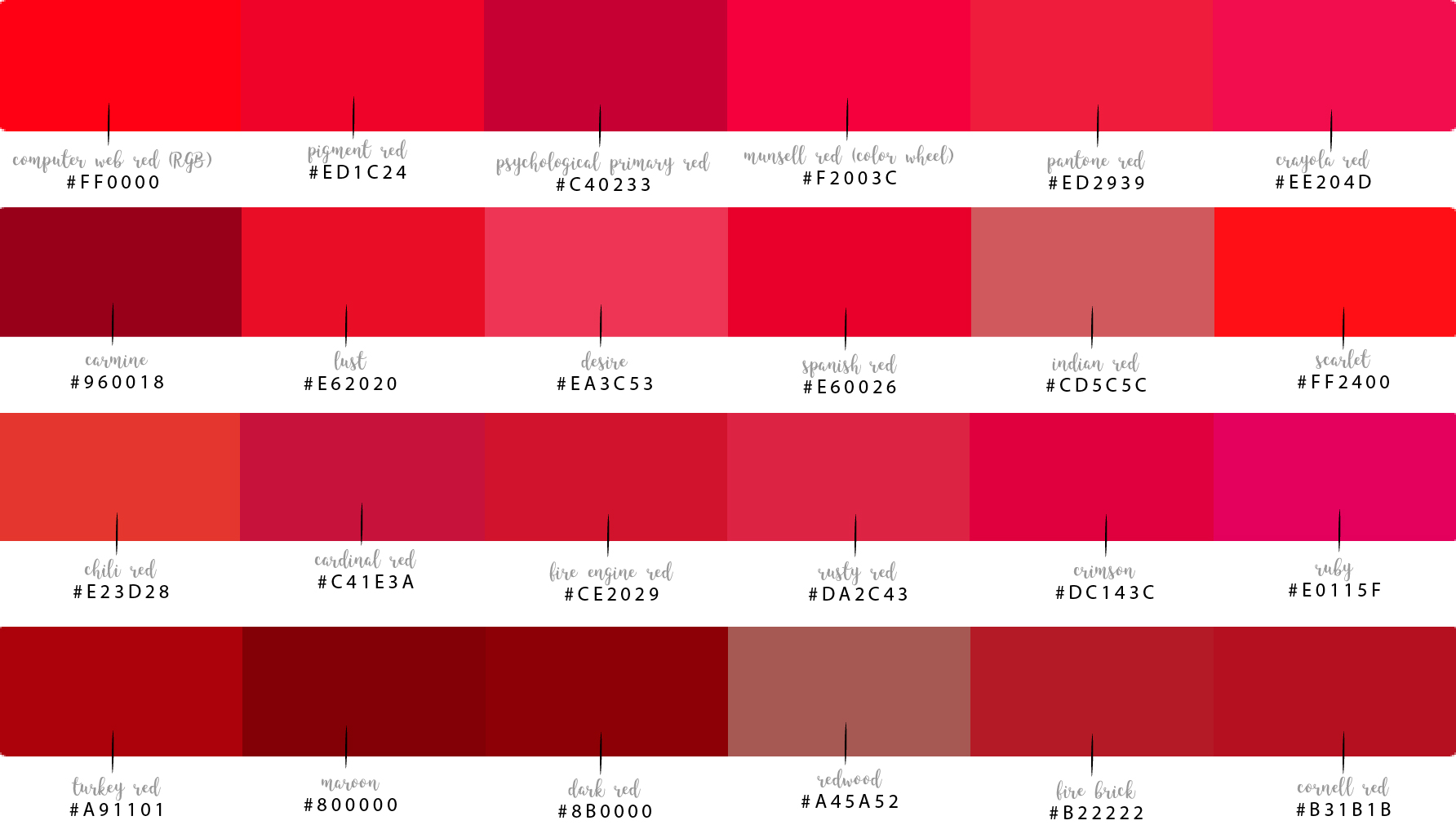 Shades Of Computer Reds And Their Hex Codes