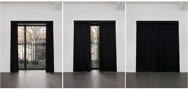 A curtain opening and closing
