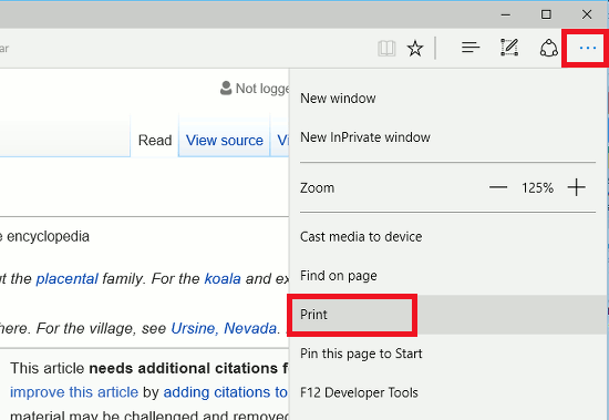 Print web pages from Edge browser in Windows 10