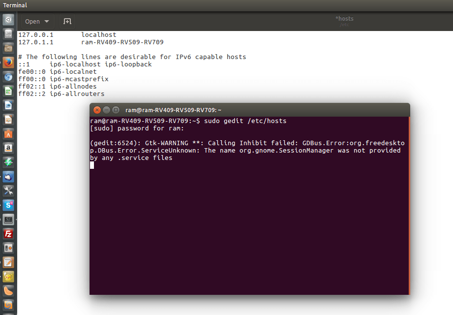 How to edit host file in Ubuntu