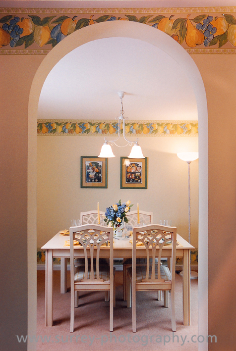 Interior photograph of dining roomw Twickenham by Epsom Photography.