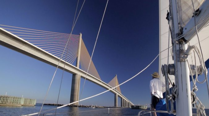 Bradford Rogers aboard Jacie Sails near Sunshine Skyway Bridge