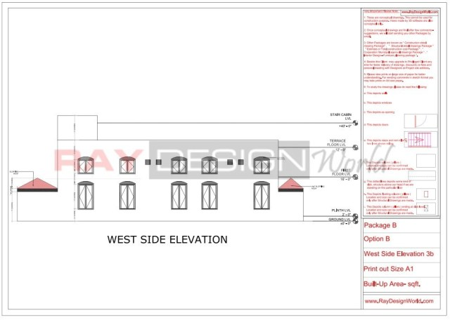 Marriage Hall - West side elevation