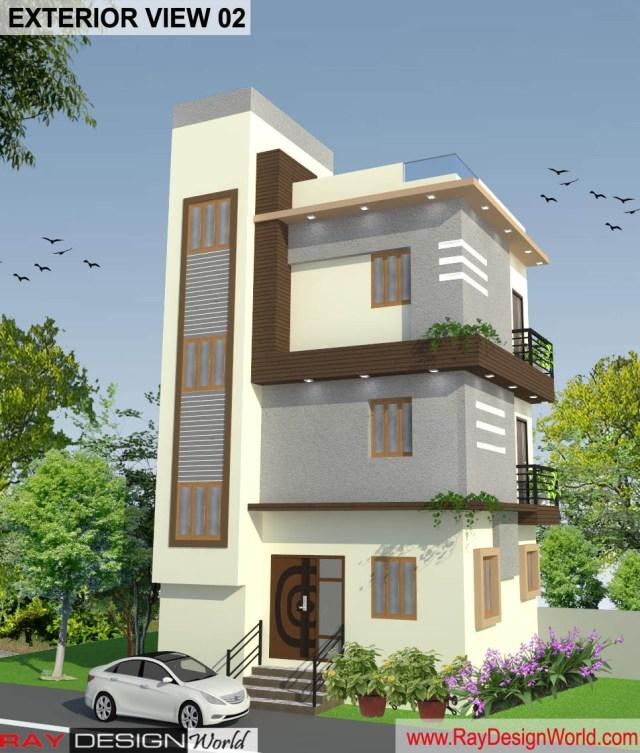 Bungalow 3D Exterior Design view 02 - Visakhapatnam - Mr.Murlidhar