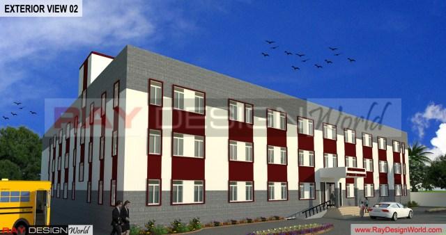 School Design - 3D Exterir view 02 -Nimbahera Rajasthan - Mr.Karim Mansoori