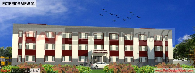 School Design - 3D Exterir view 03 -Nimbahera Rajasthan - Mr.Karim Mansoori