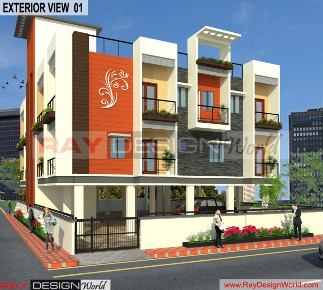 Apartment Design - 3D Exterior view 01 -Lucknow Uttar Pradesh - Mr.Narendra Kumar Tripathi