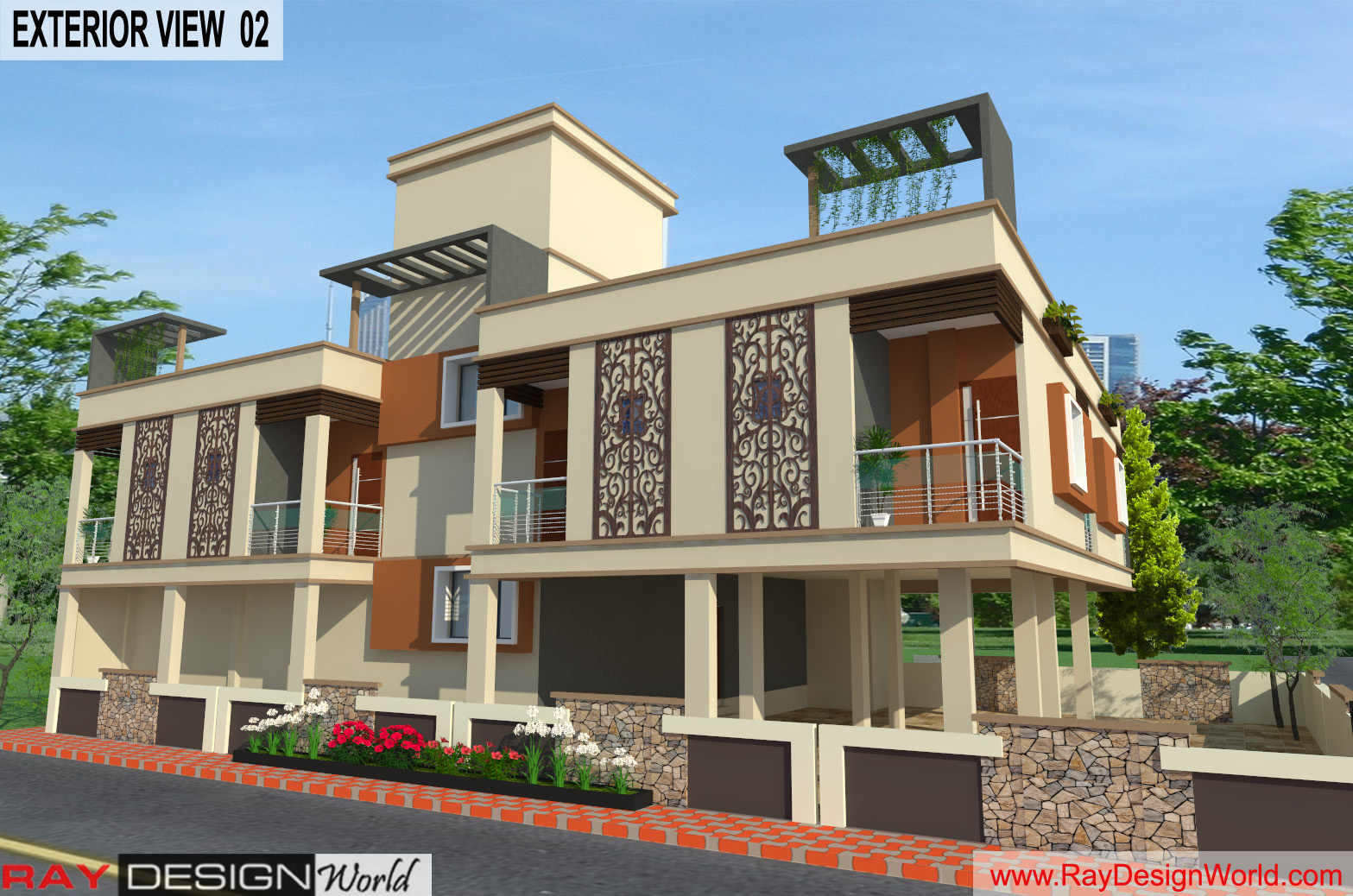 Guest House Exterior Design 02 - Lucknow UP - Mr. Narendra Kumar Tripathi