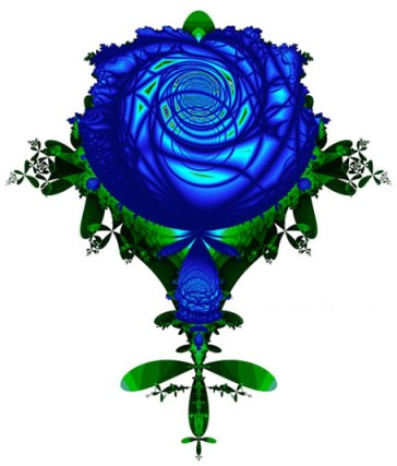 "William Wu: ""Blue Rose,"" fractal scaling art"