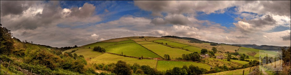 Panorama looking out over Derbyshire hills