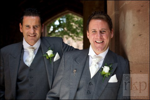Groom and Best Man at Peckforton Castle