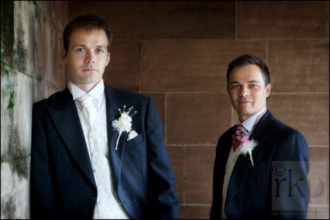 Groom and best man at Thornton Manor