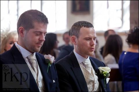 Groom nervously awaits the Bride at St Vincent's, Altrincham