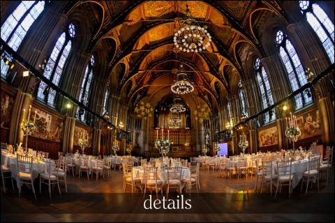 wedding details - Great Hall of Manchester Town Hall set out for wedding breakfast