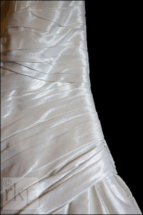 Details of silk bridal dress