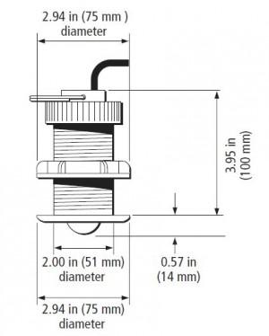 Afmeting E26031 Raymarine ST60+ Plus Through hull Retractable snelheid transducer