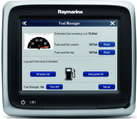 Raymarine a-Series fuel manager op de kaartplotter